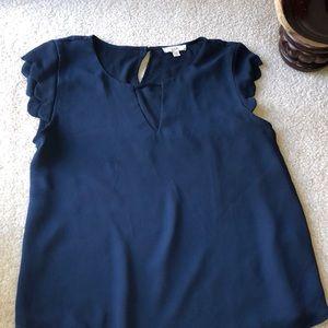 Navy blue scallops shirt